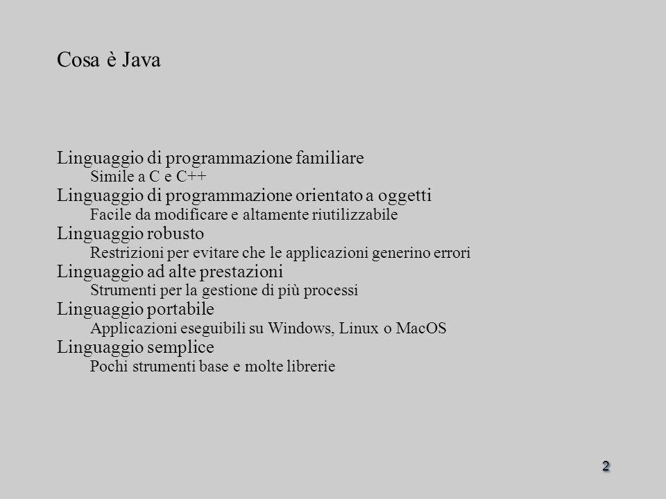 2 Cosa è Java Linguaggio di programmazione familiare Simile a C e C++ Linguaggio di programmazione orientato a oggetti Facile da modificare e altamente riutilizzabile Linguaggio robusto Restrizioni per evitare che le applicazioni generino errori Linguaggio ad alte prestazioni Strumenti per la gestione di più processi Linguaggio portabile Applicazioni eseguibili su Windows, Linux o MacOS Linguaggio semplice Pochi strumenti base e molte librerie