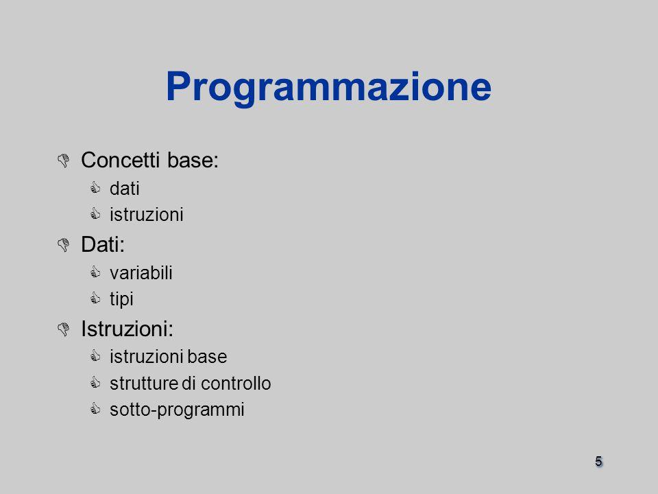5 Programmazione  Concetti base:  dati  istruzioni  Dati:  variabili  tipi  Istruzioni:  istruzioni base  strutture di controllo  sotto-programmi  Concetti base:  dati  istruzioni  Dati:  variabili  tipi  Istruzioni:  istruzioni base  strutture di controllo  sotto-programmi