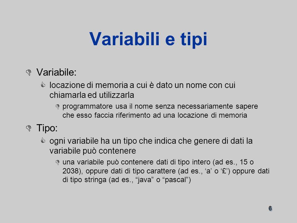 6 Variabili e tipi  Variabile:  locazione di memoria a cui è dato un nome con cui chiamarla ed utilizzarla  programmatore usa il nome senza necessariamente sapere che esso faccia riferimento ad una locazione di memoria  Tipo:  ogni variabile ha un tipo che indica che genere di dati la variabile può contenere  una variabile può contenere dati di tipo intero (ad es., 15 o 2038), oppure dati di tipo carattere (ad es., 'a' o '£') oppure dati di tipo stringa (ad es., java o pascal )  Variabile:  locazione di memoria a cui è dato un nome con cui chiamarla ed utilizzarla  programmatore usa il nome senza necessariamente sapere che esso faccia riferimento ad una locazione di memoria  Tipo:  ogni variabile ha un tipo che indica che genere di dati la variabile può contenere  una variabile può contenere dati di tipo intero (ad es., 15 o 2038), oppure dati di tipo carattere (ad es., 'a' o '£') oppure dati di tipo stringa (ad es., java o pascal )