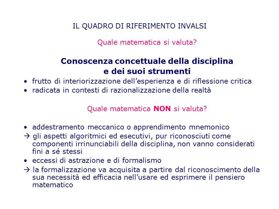Quale matematica si valuta? Conoscenza concettuale della disciplina e dei suoi strumenti frutto di interiorizzazione dell'esperienza e di riflessione