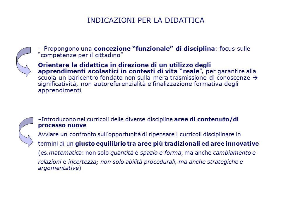 """– Propongono una concezione """"funzionale"""" di disciplina: focus sulle """"competenze per il cittadino"""" Orientare la didattica in direzione di un utilizzo d"""