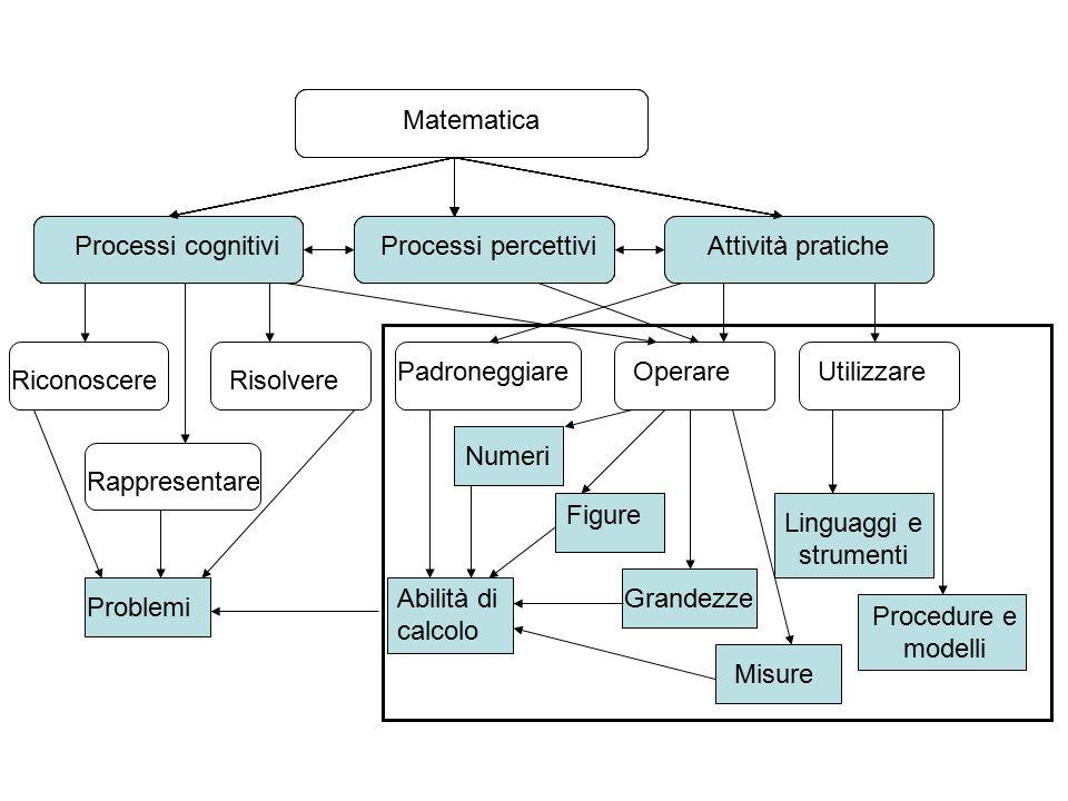 Matematica Attività praticheProcessi percettiviProcessi cognitivi Matematica RiconoscereRisolvere Rappresentare Padroneggiare Operare Utilizzare Probl