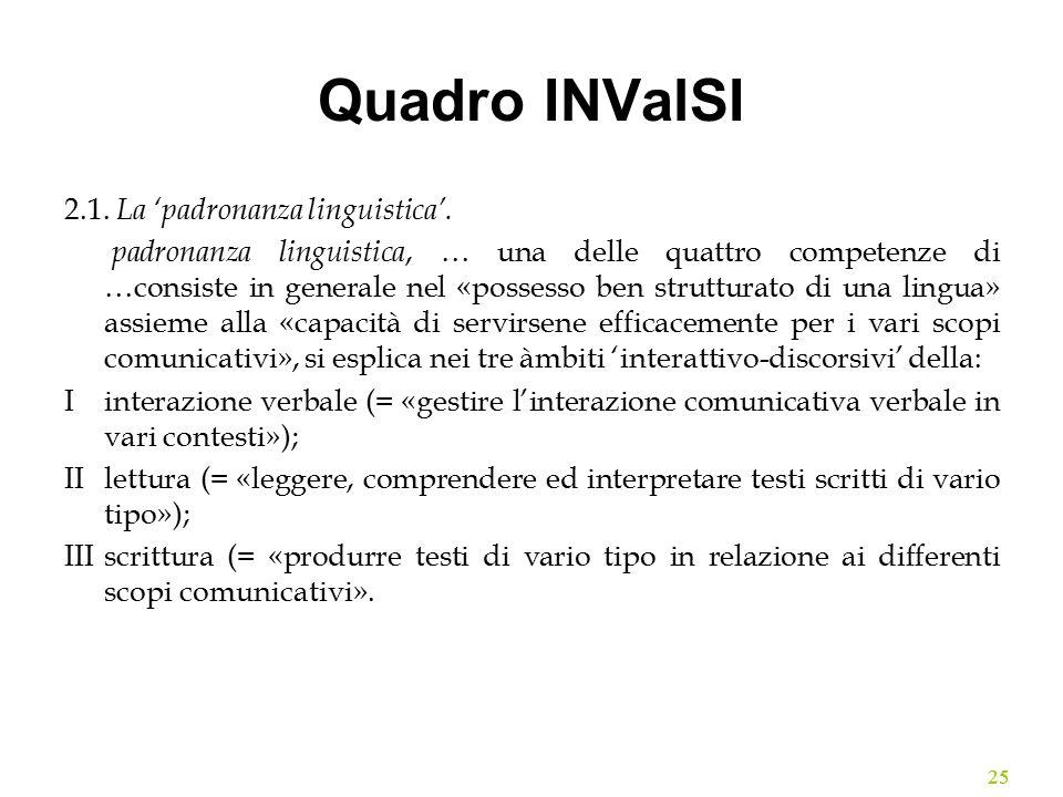 Quadro INValSI 2.1. La 'padronanza linguistica'. padronanza linguistica, … una delle quattro competenze di …consiste in generale nel «possesso ben str