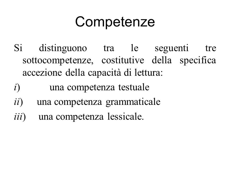 Competenze Si distinguono tra le seguenti tre sottocompetenze, costitutive della specifica accezione della capacità di lettura: i) una competenza test