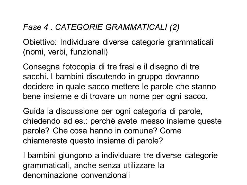 Fase 4. CATEGORIE GRAMMATICALI (2) Obiettivo: Individuare diverse categorie grammaticali (nomi, verbi, funzionali) Consegna fotocopia di tre frasi e i