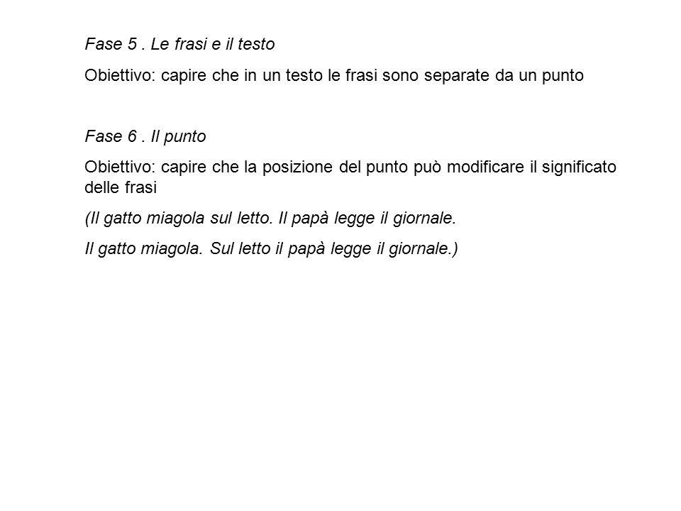 Fase 5. Le frasi e il testo Obiettivo: capire che in un testo le frasi sono separate da un punto Fase 6. Il punto Obiettivo: capire che la posizione d
