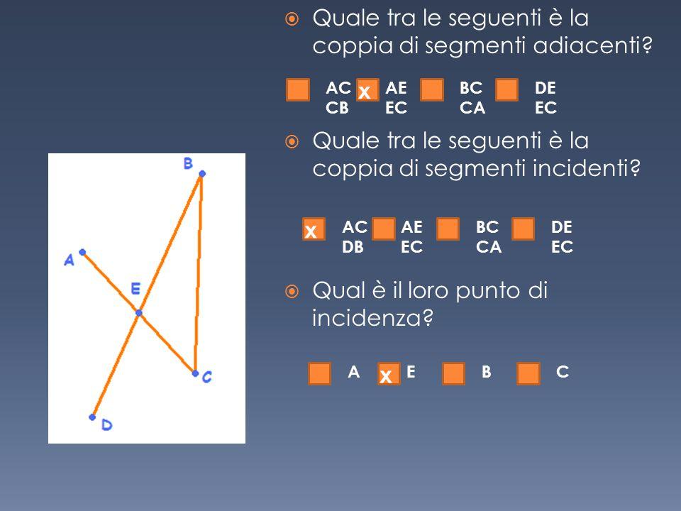  Quale tra le seguenti è la coppia di segmenti adiacenti?  Quale tra le seguenti è la coppia di segmenti incidenti?  Qual è il loro punto di incide