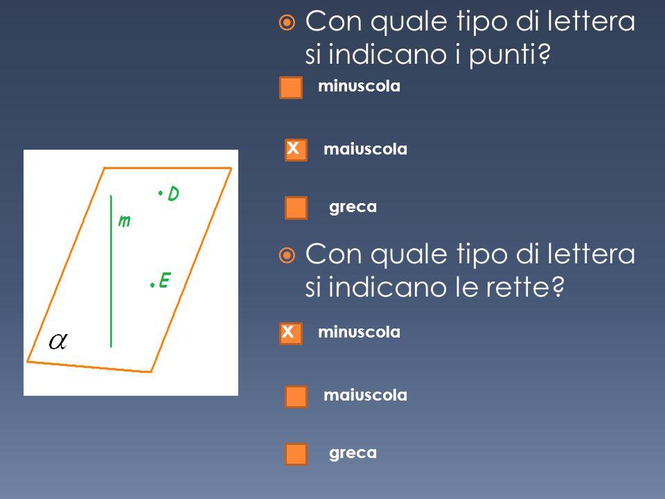  Con quale tipo di lettera si indicano i punti?  Con quale tipo di lettera si indicano le rette? minuscola maiuscola greca x minuscola maiuscola gre