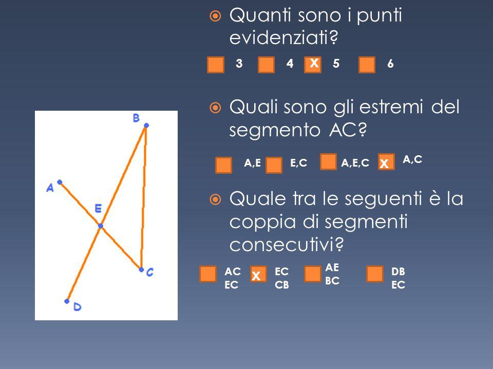  Quanti sono i punti evidenziati?  Quali sono gli estremi del segmento AC?  Quale tra le seguenti è la coppia di segmenti consecutivi? 3456 A,EE,CA