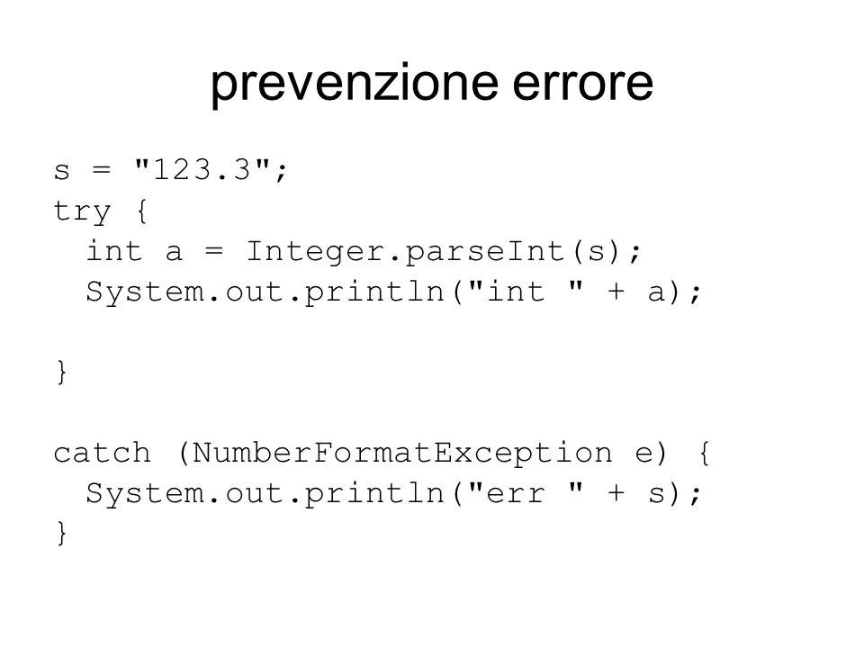 prevenzione errore s =
