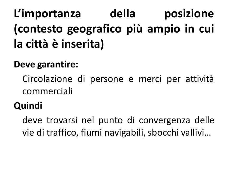 L'importanza della posizione (contesto geografico più ampio in cui la città è inserita) Deve garantire: Circolazione di persone e merci per attività c