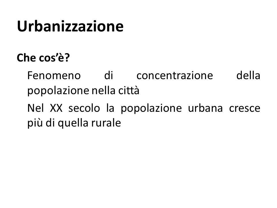 Urbanizzazione Che cos'è? Fenomeno di concentrazione della popolazione nella città Nel XX secolo la popolazione urbana cresce più di quella rurale