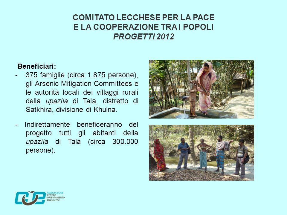 Beneficiari: - 375 famiglie (circa 1.875 persone), gli Arsenic Mitigation Committees e le autorità locali dei villaggi rurali della upazila di Tala, distretto di Satkhira, divisione di Khulna.