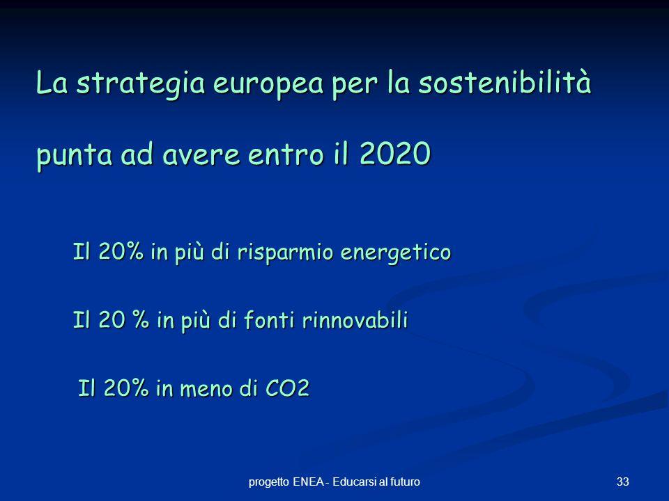 33progetto ENEA - Educarsi al futuro La strategia europea per la sostenibilità punta ad avere entro il 2020 Il 20 % in più di fonti rinnovabili Il 20% in più di risparmio energetico Il 20% in meno di CO2