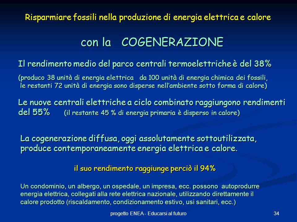 34progetto ENEA - Educarsi al futuro Risparmiare fossili nella produzione di energia elettrica e calore con la COGENERAZIONE Il rendimento medio del parco centrali termoelettriche è del 38% (produco 38 unità di energia elettrica da 100 unità di energia chimica dei fossili, le restanti 72 unità di energia sono disperse nell'ambiente sotto forma di calore) le restanti 72 unità di energia sono disperse nell'ambiente sotto forma di calore) Le nuove centrali elettriche a ciclo combinato raggiungono rendimenti del 55% (il restante 45 % di energia primaria è disperso in calore) La cogenerazione diffusa, oggi assolutamente sottoutilizzata, produce contemporaneamente energia elettrica e calore.