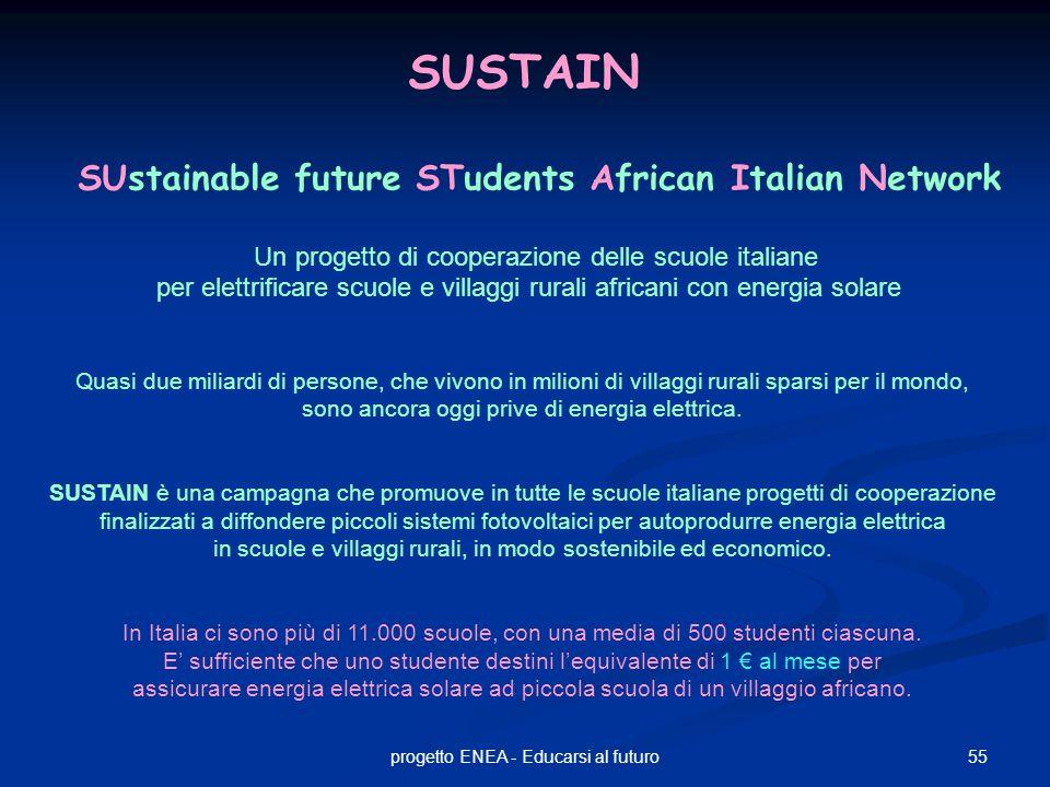 55progetto ENEA - Educarsi al futuro SUSTAIN SUstainable future STudents African Italian Network Un progetto di cooperazione delle scuole italiane per elettrificare scuole e villaggi rurali africani con energia solare Quasi due miliardi di persone, che vivono in milioni di villaggi rurali sparsi per il mondo, sono ancora oggi prive di energia elettrica.
