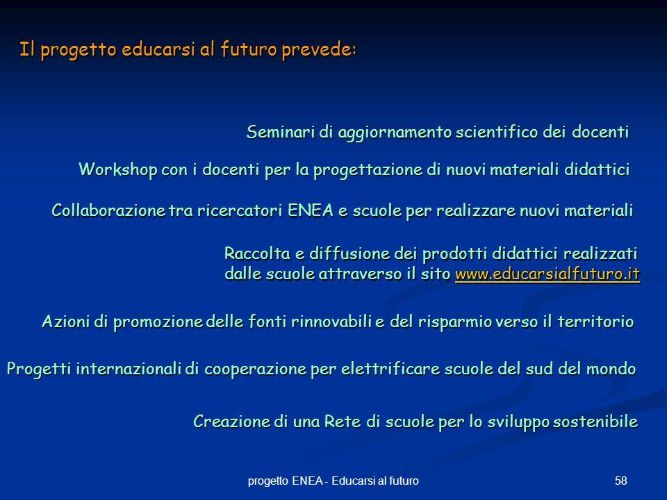 58progetto ENEA - Educarsi al futuro Il progetto educarsi al futuro prevede: Seminari di aggiornamento scientifico dei docenti Workshop con i docenti