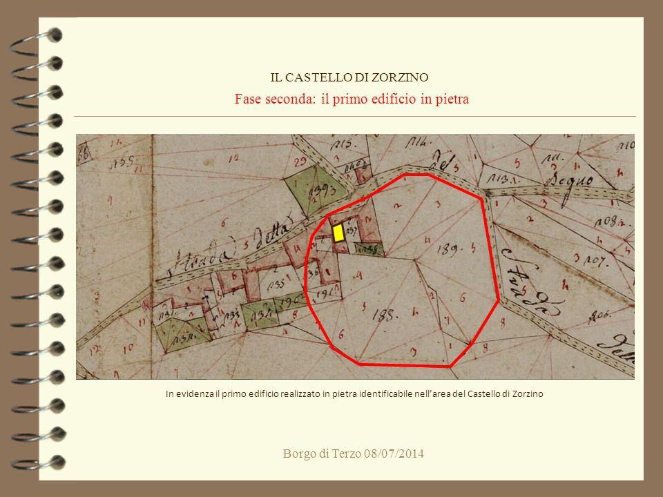 Borgo di Terzo 08/07/2014 Fase seconda: il primo edificio in pietra IL CASTELLO DI ZORZINO In evidenza il primo edificio realizzato in pietra identifi