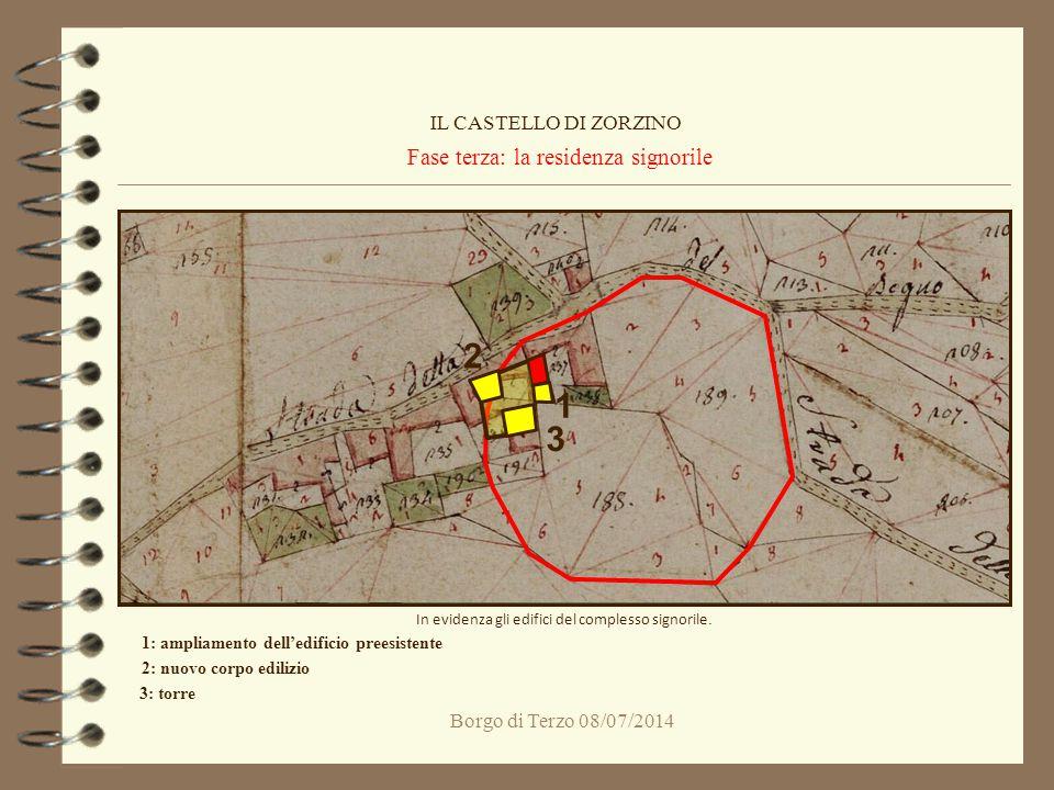 Borgo di Terzo 08/07/2014 Fase terza: la residenza signorile IL CASTELLO DI ZORZINO In evidenza gli edifici del complesso signorile. 1 1: ampliamento