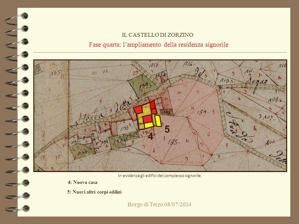 Borgo di Terzo 08/07/2014 Fase quarta: l'ampliamento della residenza signorile IL CASTELLO DI ZORZINO In evidenza gli edifici del complesso signorile.