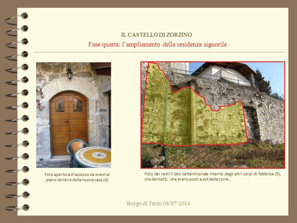 Borgo di Terzo 08/07/2014 Fase quarta: l'ampliamento della residenza signorile IL CASTELLO DI ZORZINO Foto apertura d'accesso da ovest al piano terren