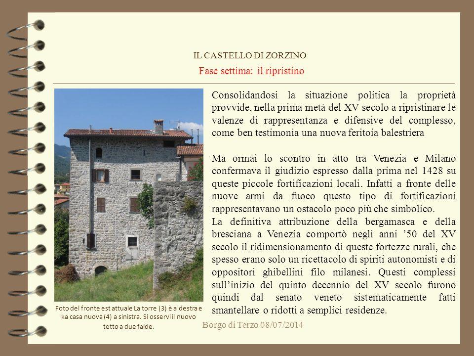 Borgo di Terzo 08/07/2014 Fase settima: il ripristino IL CASTELLO DI ZORZINO Consolidandosi la situazione politica la proprietà provvide, nella prima
