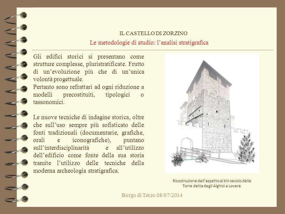 Borgo di Terzo 08/07/2014 Le metodologie di studio: l'analisi stratigrafica IL CASTELLO DI ZORZINO Gli edifici storici si presentano come strutture co