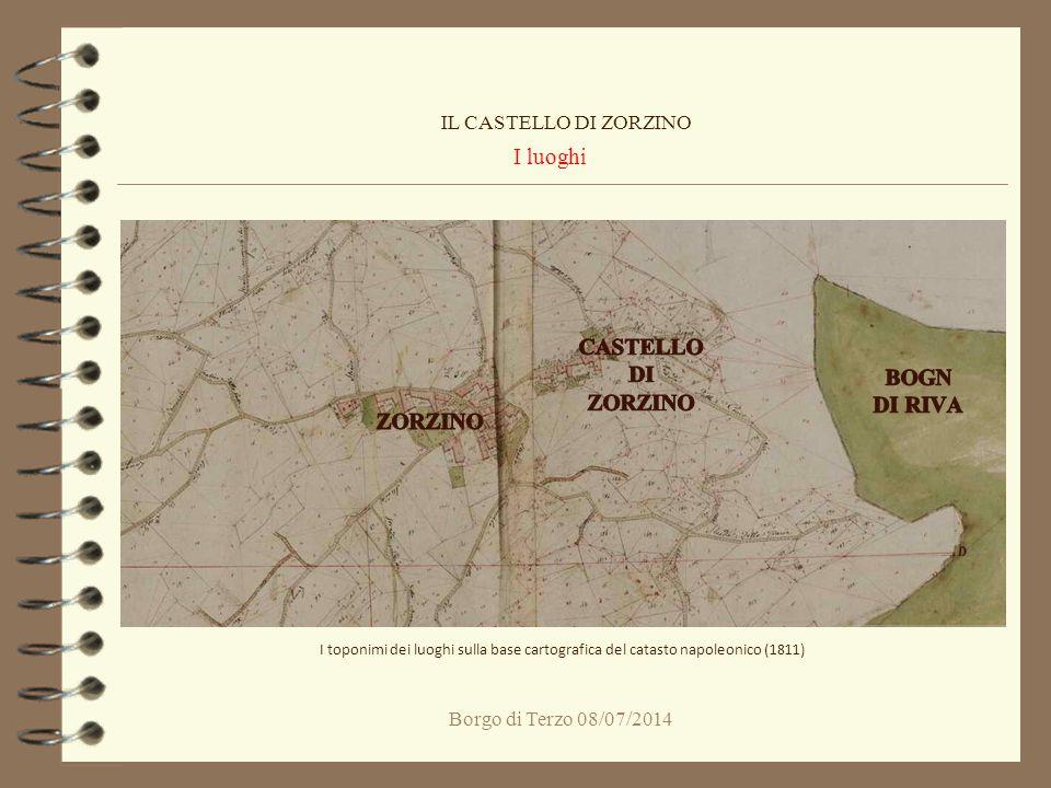 Borgo di Terzo 08/07/2014 I luoghi IL CASTELLO DI ZORZINO I toponimi dei luoghi sulla base cartografica del catasto napoleonico (1811)