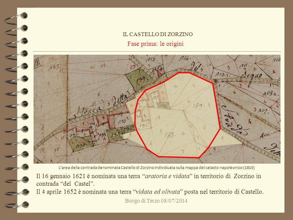 Borgo di Terzo 08/07/2014 Fase prima: le origini IL CASTELLO DI ZORZINO L'area della contrada denominata Castello di Zorzino individuata sulla mappa d