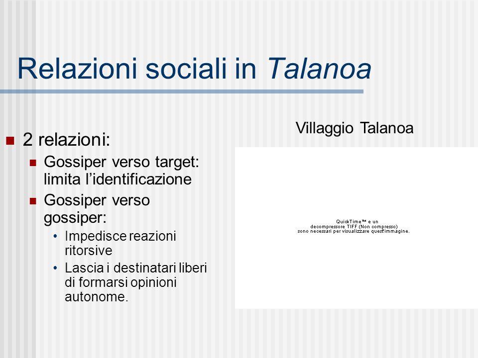 Relazioni sociali in Talanoa 2 relazioni: Gossiper verso target: limita l'identificazione Gossiper verso gossiper: Impedisce reazioni ritorsive Lascia