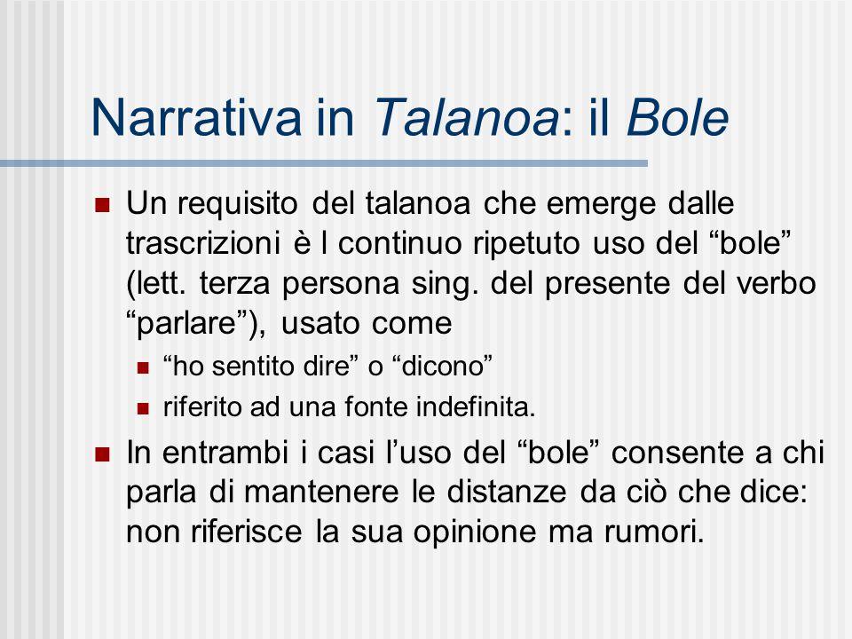 """Narrativa in Talanoa: il Bole Un requisito del talanoa che emerge dalle trascrizioni è l continuo ripetuto uso del """"bole"""" (lett. terza persona sing. d"""