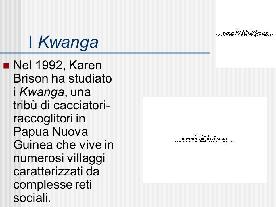 I Kwanga Nel 1992, Karen Brison ha studiato i Kwanga, una tribù di cacciatori- raccoglitori in Papua Nuova Guinea che vive in numerosi villaggi caratt