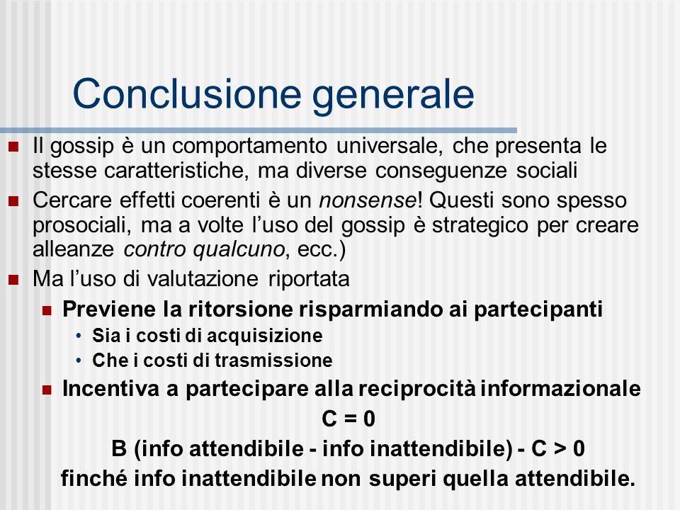 Conclusione generale Il gossip è un comportamento universale, che presenta le stesse caratteristiche, ma diverse conseguenze sociali Cercare effetti c
