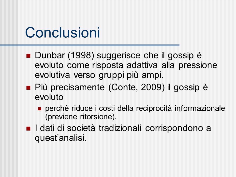 Conclusioni Dunbar (1998) suggerisce che il gossip è evoluto come risposta adattiva alla pressione evolutiva verso gruppi più ampi. Più precisamente (