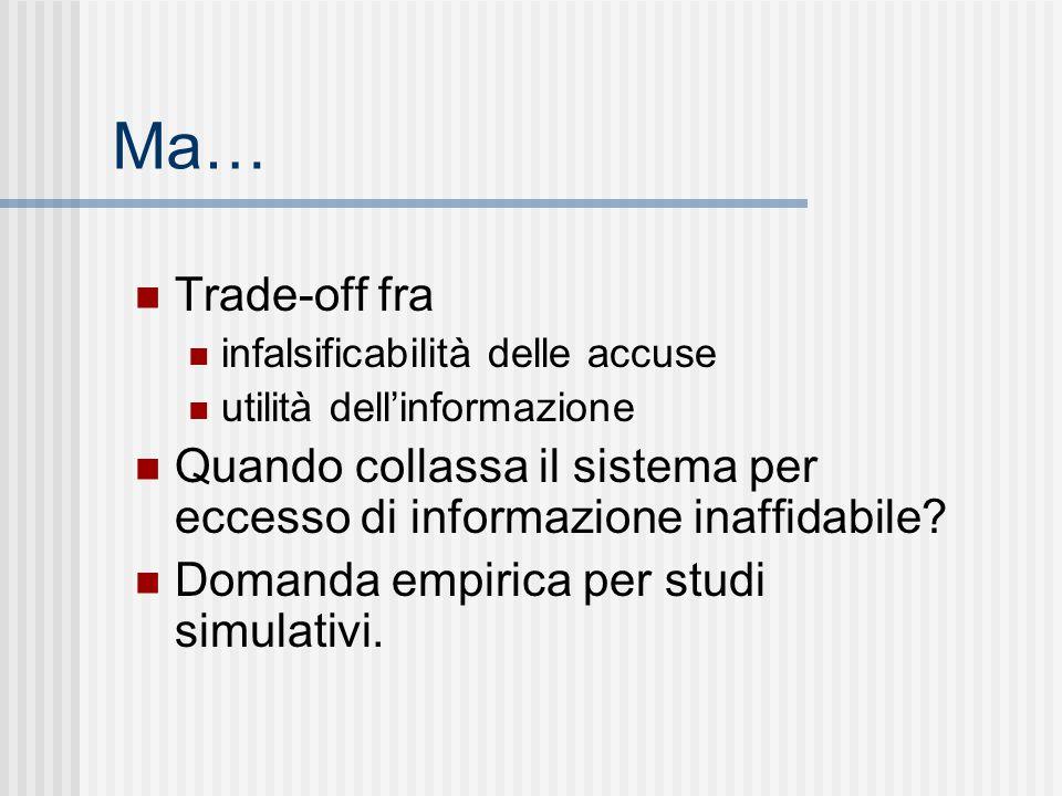 Ma… Trade-off fra infalsificabilità delle accuse utilità dell'informazione Quando collassa il sistema per eccesso di informazione inaffidabile? Domand