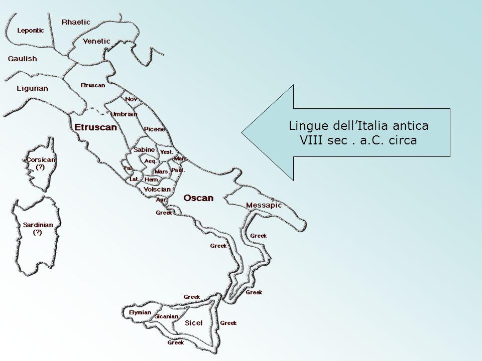 Lingue dell'Italia antica VIII sec. a.C. circa