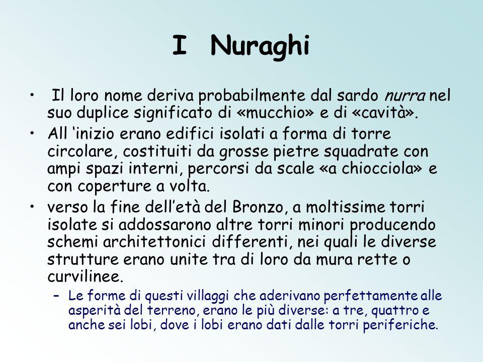 I Nuraghi Il loro nome deriva probabilmente dal sardo nurra nel suo duplice significato di «mucchio» e di «cavità». All 'inizio erano edifici isolati