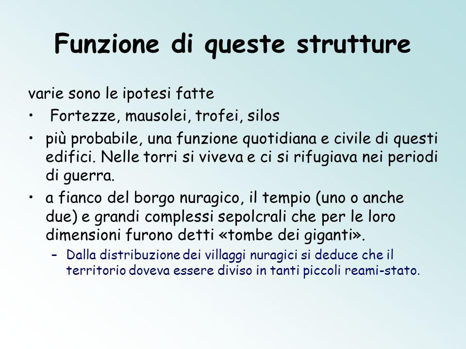 Funzione di queste strutture varie sono le ipotesi fatte Fortezze, mausolei, trofei, silos più probabile, una funzione quotidiana e civile di questi e