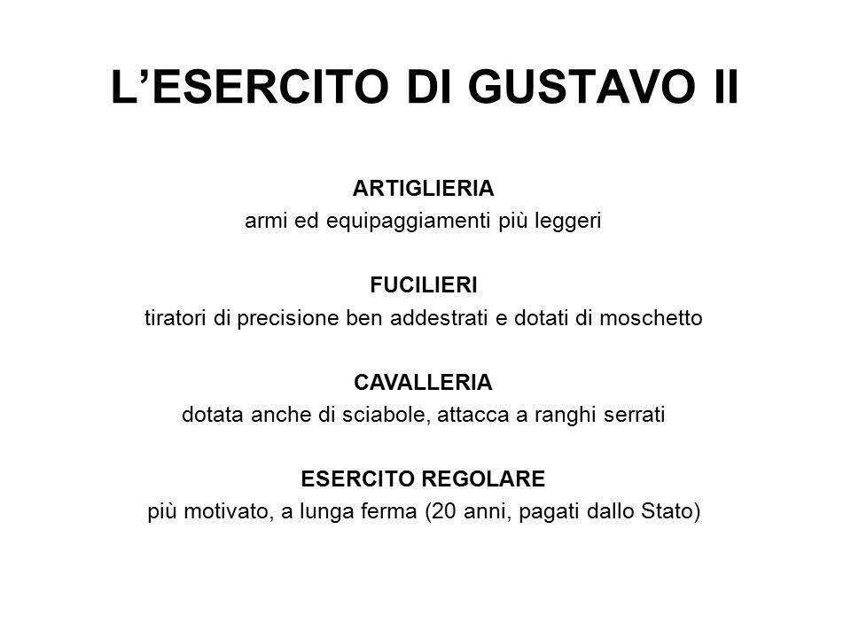 L'ESERCITO DI GUSTAVO II ARTIGLIERIA armi ed equipaggiamenti più leggeri FUCILIERI tiratori di precisione ben addestrati e dotati di moschetto CAVALLE