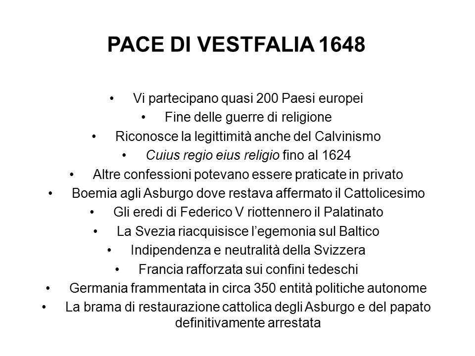 PACE DI VESTFALIA 1648 Vi partecipano quasi 200 Paesi europei Fine delle guerre di religione Riconosce la legittimità anche del Calvinismo Cuius regio