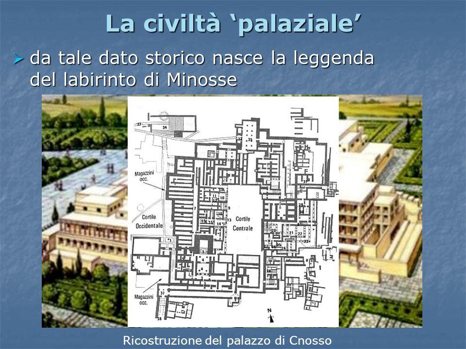 La civiltà 'palaziale'  a Cnosso, a Festo e a Mallia vengono costruiti palazzi suntuosi, con decine di cortili e stanze riccamente affrescate La sala