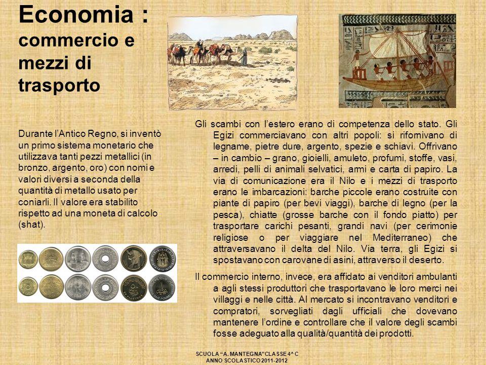 Economia : commercio e mezzi di trasporto Gli scambi con l'estero erano di competenza dello stato. Gli Egizi commerciavano con altri popoli: si riforn