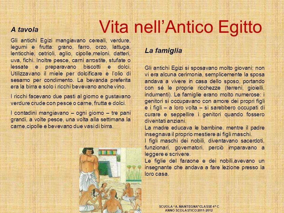 Vita nell'Antico Egitto La famiglia Gli antichi Egizi si sposavano molto giovani: non vi era alcuna cerimonia, semplicemente la sposa andava a vivere