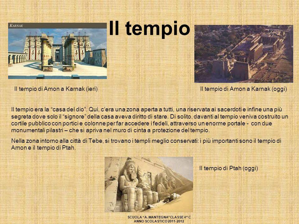 """Il tempio Il tempio di Amon a Karnak (ieri) Il tempio di Amon a Karnak (oggi) Il tempio era la """"casa del dio"""". Qui, c'era una zona aperta a tutti, una"""