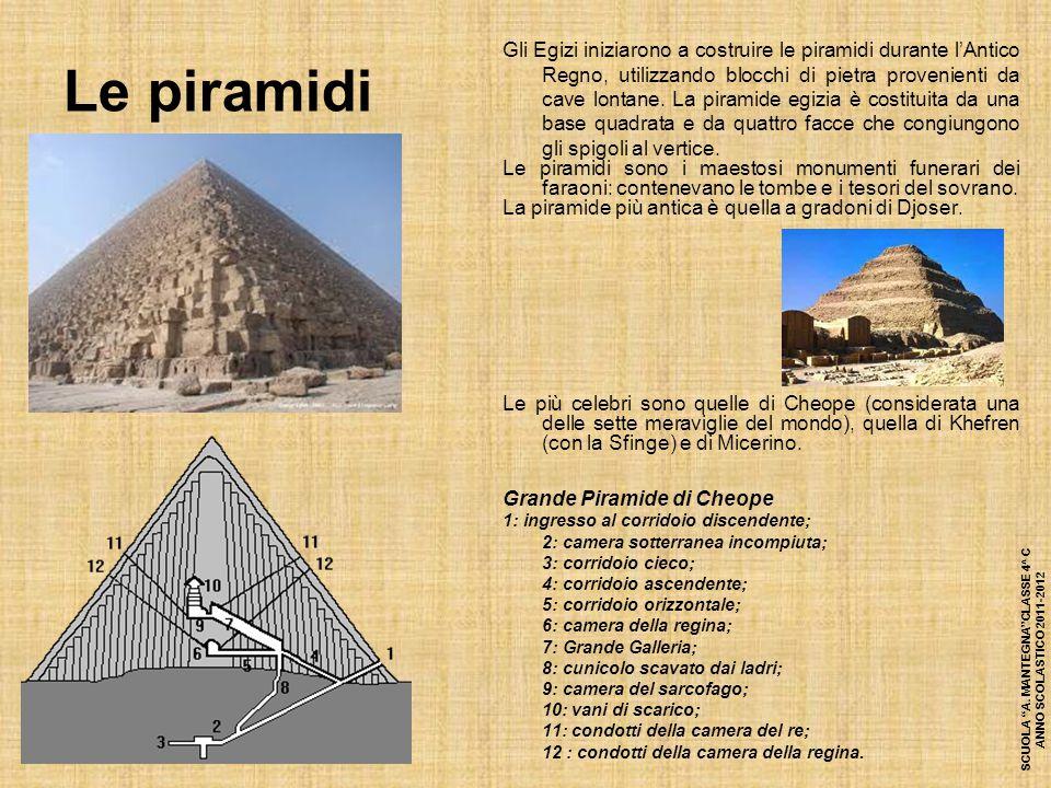 Le piramidi Gli Egizi iniziarono a costruire le piramidi durante l'Antico Regno, utilizzando blocchi di pietra provenienti da cave lontane. La piramid