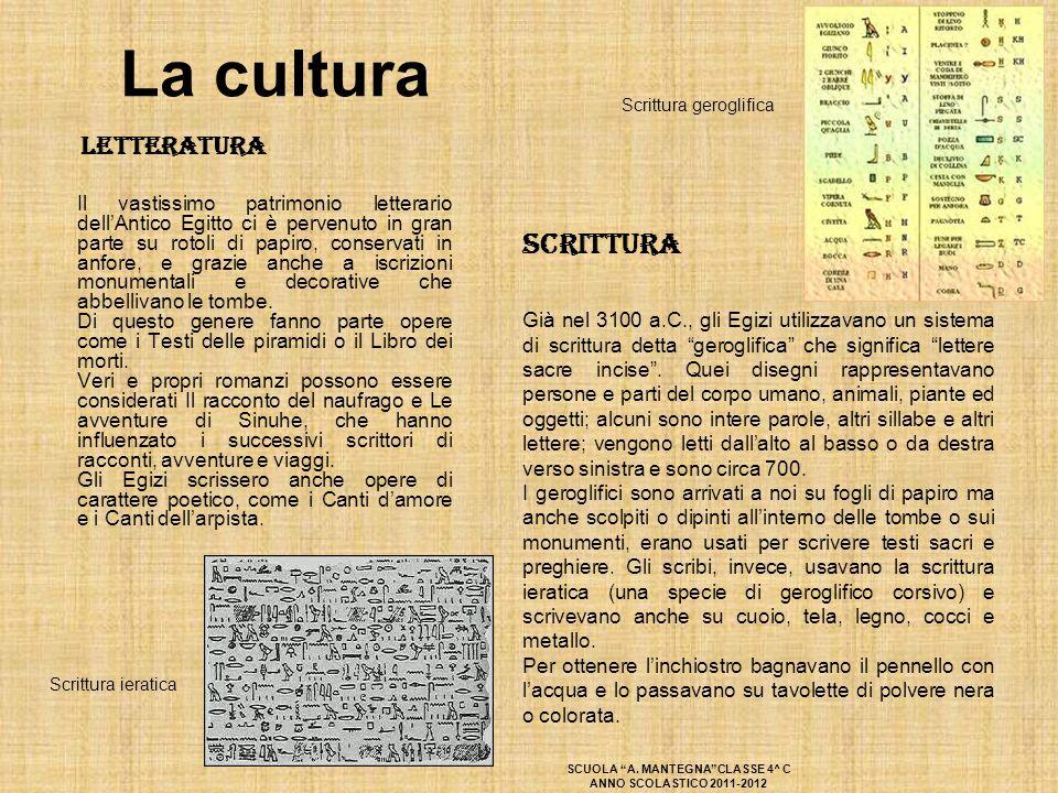 La cultura Letteratura Il vastissimo patrimonio letterario dell'Antico Egitto ci è pervenuto in gran parte su rotoli di papiro, conservati in anfore,