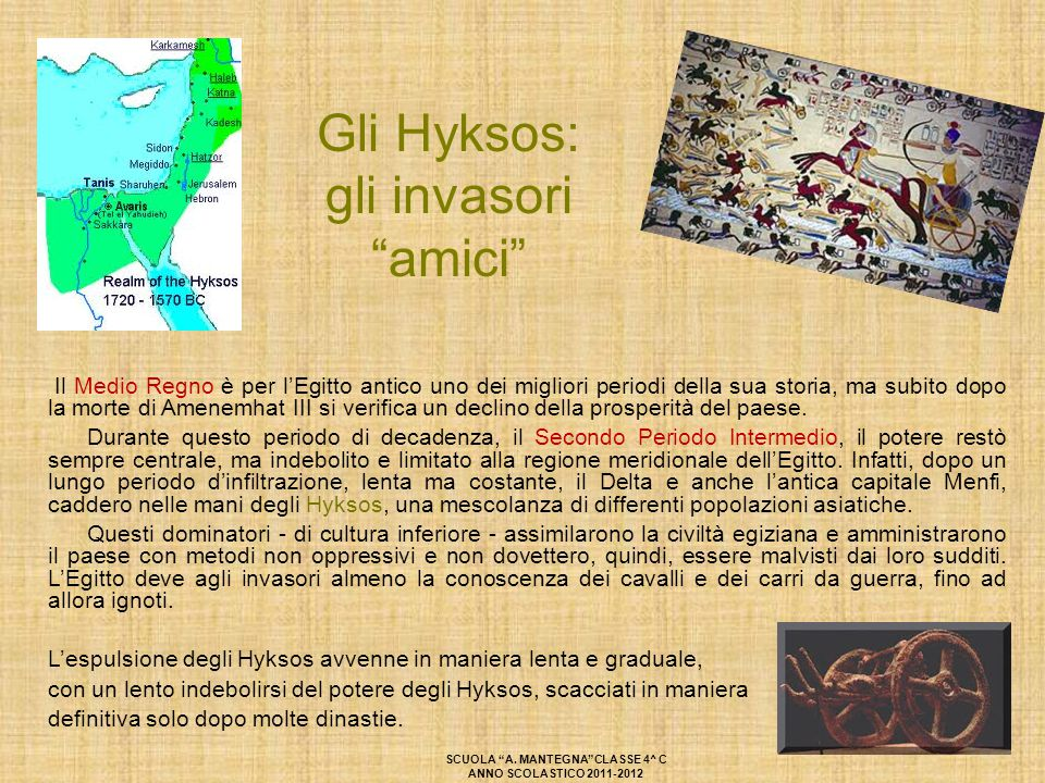 """Gli Hyksos: gli invasori """"amici"""" Il Medio Regno è per l'Egitto antico uno dei migliori periodi della sua storia, ma subito dopo la morte di Amenemhat"""