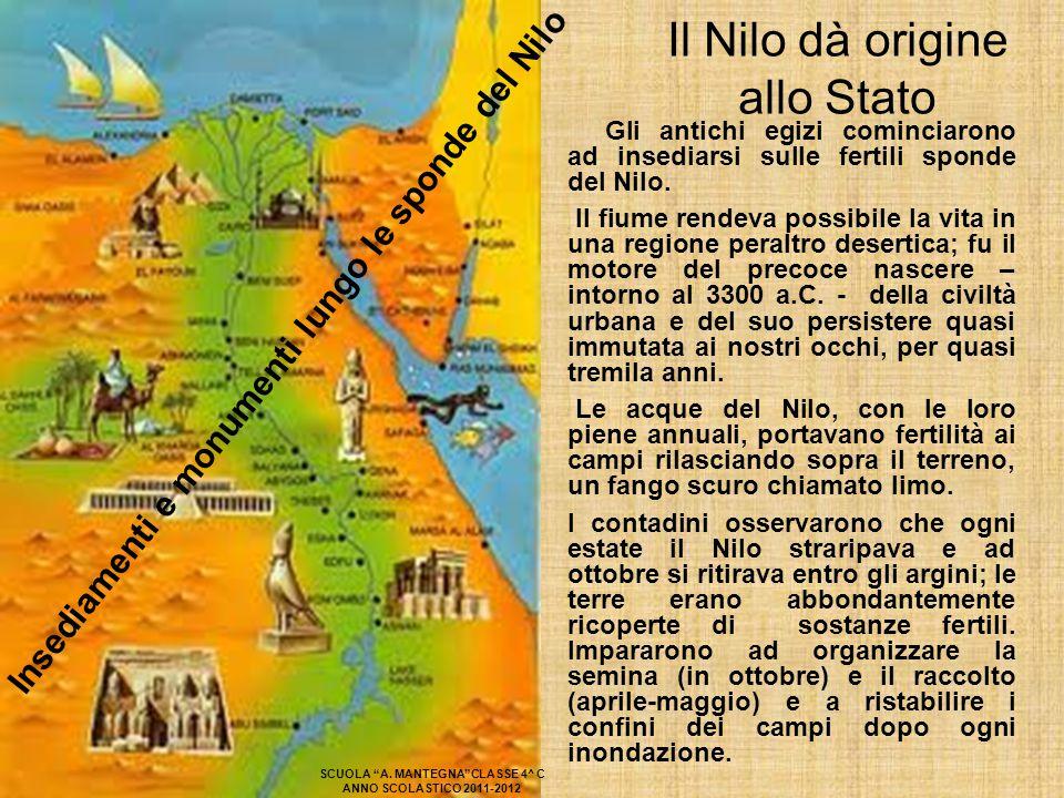 Il Nilo dà origine allo Stato Gli antichi egizi cominciarono ad insediarsi sulle fertili sponde del Nilo. Il fiume rendeva possibile la vita in una re