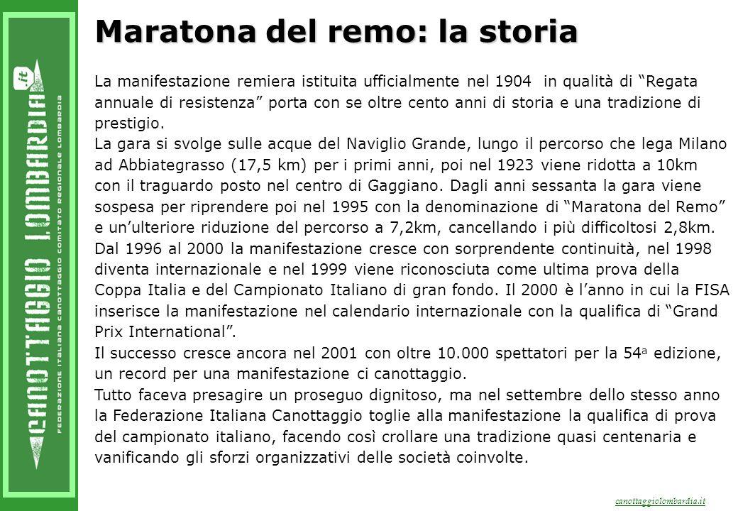 canottaggiolombardia.it Maratona del remo: la storia La manifestazione remiera istituita ufficialmente nel 1904 in qualità di Regata annuale di resistenza porta con se oltre cento anni di storia e una tradizione di prestigio.