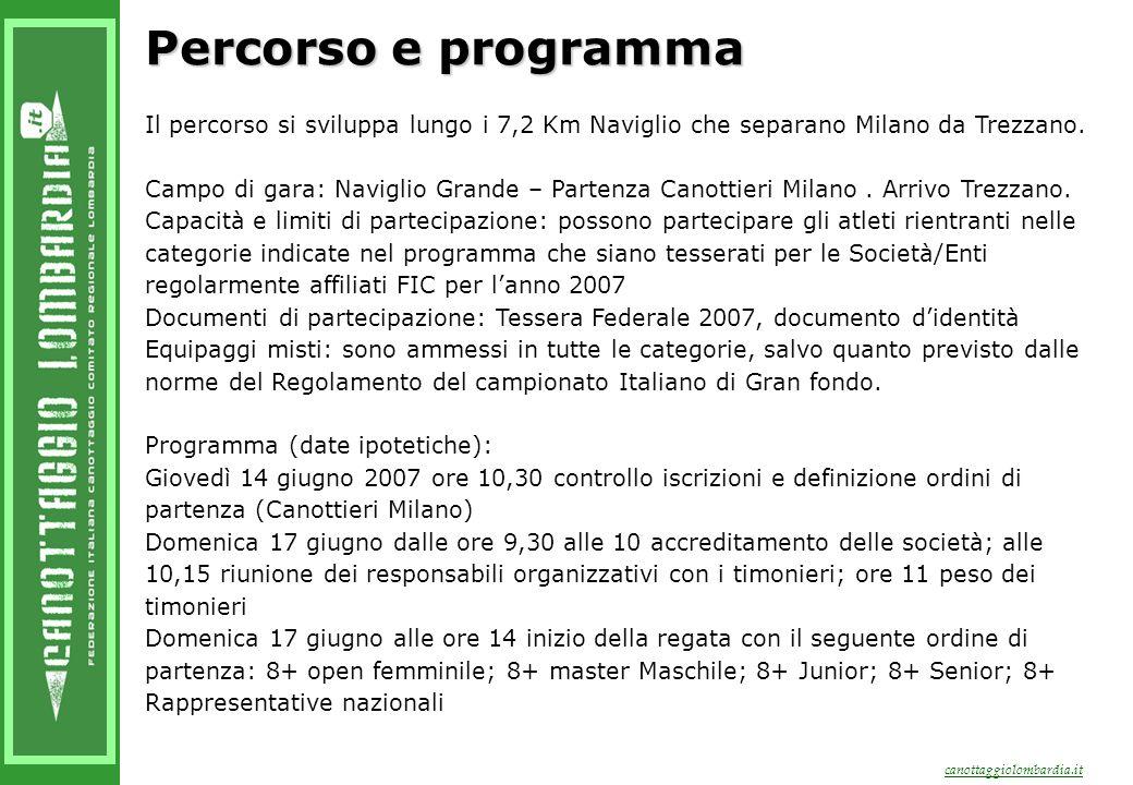canottaggiolombardia.it Percorso e programma Il percorso si sviluppa lungo i 7,2 Km Naviglio che separano Milano da Trezzano.